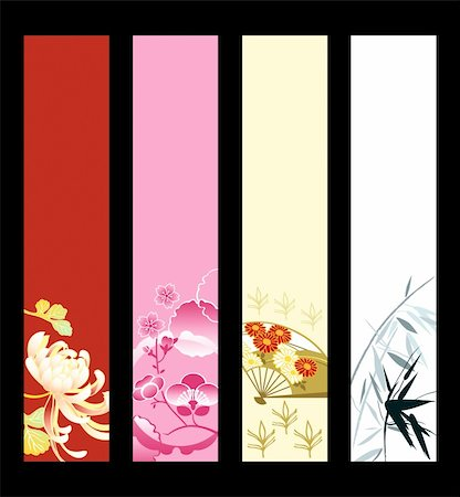 peony illustrations - Asian art banner or sider backgrounds. Base banner size is 120x600. Stock Photo - Budget Royalty-Free & Subscription, Code: 400-04689034
