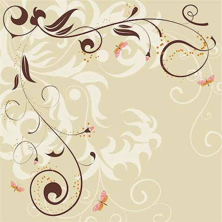 filigree designs in trees and insects - Floral background with butterfly for design, vector illustration Stock Photo - Budget Royalty-Free & Subscription, Code: 400-04689218