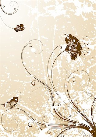 filigree designs in trees and insects - Grunge flower background with butterfly, element for design, vector illustration Stock Photo - Budget Royalty-Free & Subscription, Code: 400-04689223