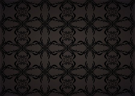 Gothic seamless background wallpaper in balck and grey with floral theme Stock Photo - Budget Royalty-Free & Subscription, Code: 400-04689274