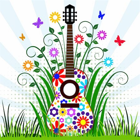 Guitar with flower design in the meadow with flying butterflies, musical instrument background, full scalable vector graphic included Eps v8 and 300 dpi JPG Stock Photo - Budget Royalty-Free & Subscription, Code: 400-04680186