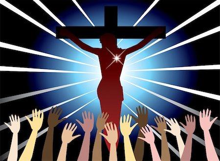 Vector Illustration of Jesus Christ on cross. Easter Resurrection. Stock Photo - Budget Royalty-Free & Subscription, Code: 400-04680421