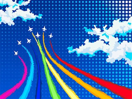 rainbow smoke background - Rainbow airplanes flying over clouds Stock Photo - Budget Royalty-Free & Subscription, Code: 400-04694943