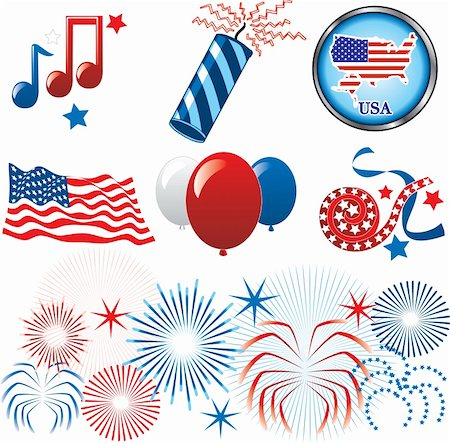 Vector Illustration for the 4th of July Independence. Set of Icons and Buttons. Stock Photo - Budget Royalty-Free & Subscription, Code: 400-04695035