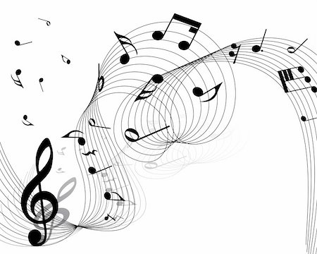 Vector musical notes staff background for design use Stock Photo - Budget Royalty-Free & Subscription, Code: 400-04695391