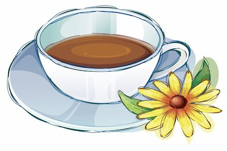 illustration drawing of coffee cup and yellow flower Stock Photo - Budget Royalty-Free & Subscription, Code: 400-04696289