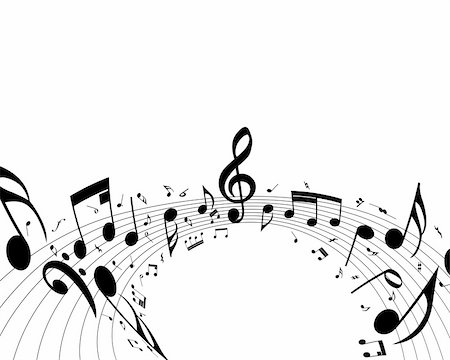 picture of music staff with notes - Vector musical notes staff background for design use Stock Photo - Budget Royalty-Free & Subscription, Code: 400-04697231