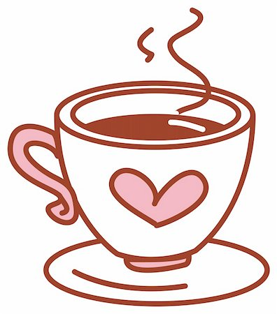 illustration drawing  of coffee cup with pink heart Stock Photo - Budget Royalty-Free & Subscription, Code: 400-04697471