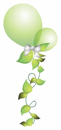 simsearch:400-04697977,k - illustration drawing of green balloons with leaves in white background Stock Photo - Budget Royalty-Free & Subscription, Code: 400-04697530