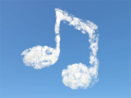 Isolated music note formed from clouds Stock Photo - Budget Royalty-Free & Subscription, Code: 400-04697644