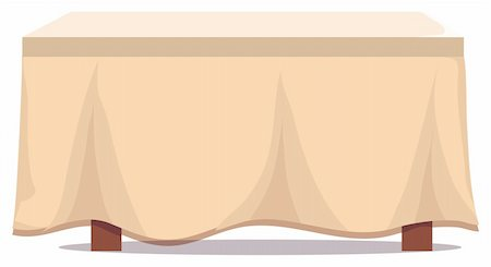 illustration drawing of a dining table with tablecloth in white background Stock Photo - Budget Royalty-Free & Subscription, Code: 400-04697714