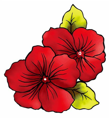 simsearch:400-04697977,k - a vivid illustration of two red flowers Stock Photo - Budget Royalty-Free & Subscription, Code: 400-04697729