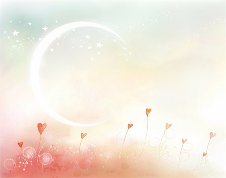 pretty pink star white background - a beautiful drawing of moon ,stars and hearts Stock Photo - Budget Royalty-Free & Subscription, Code: 400-04697850