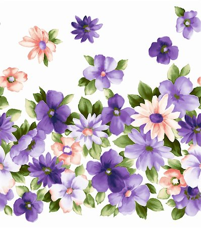 simsearch:400-04697977,k - illustration drawing of pretty purple flower in a white background Stock Photo - Budget Royalty-Free & Subscription, Code: 400-04697968