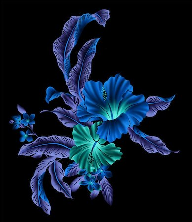 simsearch:400-04697977,k - blue flower with lighting in a black background Stock Photo - Budget Royalty-Free & Subscription, Code: 400-04697981