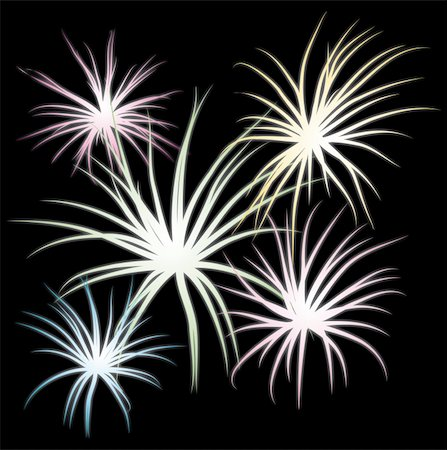 Set of fireworks, part 2, vector illustration Stock Photo - Budget Royalty-Free & Subscription, Code: 400-04698525