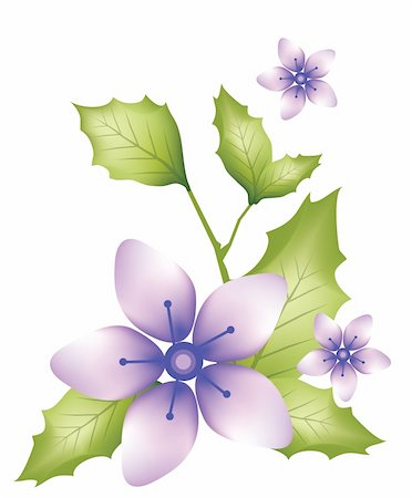 simsearch:400-04697977,k - illustration drawing of three beautiful purple flowers Stock Photo - Budget Royalty-Free & Subscription, Code: 400-04698579