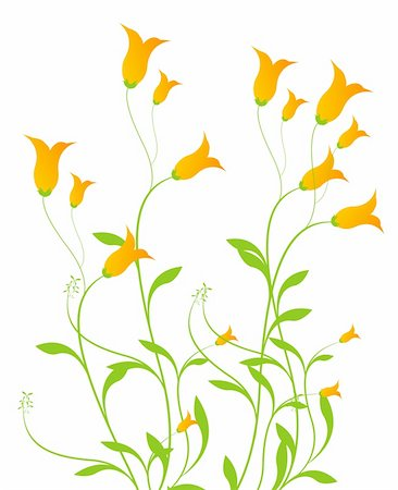 simsearch:400-04697977,k - drawing of orange flowers with green leaves Stock Photo - Budget Royalty-Free & Subscription, Code: 400-04699097