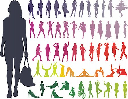 simsearch:400-04096935,k - Women Collection, color on white vector silhouettes illustration Stock Photo - Budget Royalty-Free & Subscription, Code: 400-04699514