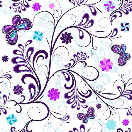 Seamless floral pattern with butterflies and flowers (vector) Stock Photo - Budget Royalty-Free & Subscription, Code: 400-04691375