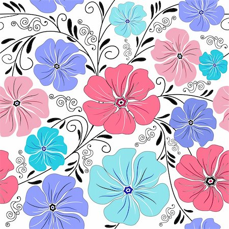 Seamless floral pattern with handwork curls and flowers (vector) Stock Photo - Budget Royalty-Free & Subscription, Code: 400-04691377