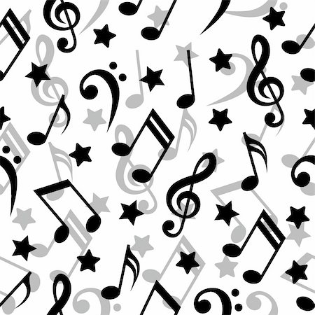 Seamless pattern with a music notes. Stock Photo - Budget Royalty-Free & Subscription, Code: 400-04691508