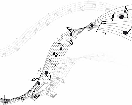 Vector musical notes staff background for design use Stock Photo - Budget Royalty-Free & Subscription, Code: 400-04691538