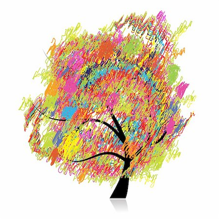 Colorful art tree, pencil sketch drawing Stock Photo - Budget Royalty-Free & Subscription, Code: 400-04691824