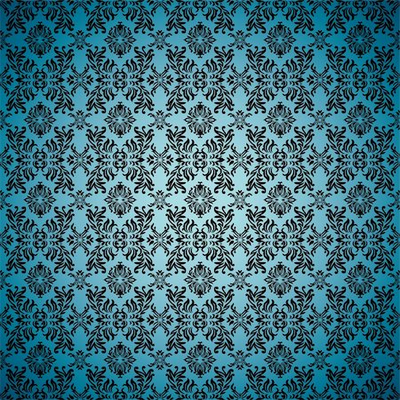 Blue seamless wallpaper background with tile gothic pattern Stock Photo - Budget Royalty-Free & Subscription, Code: 400-04692030