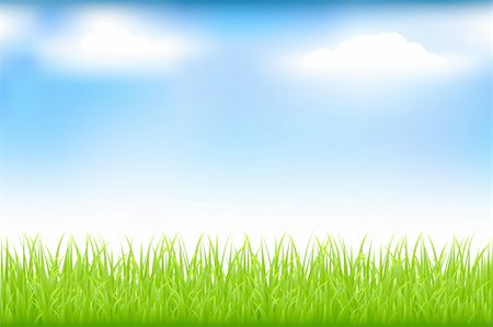 Green Grass And Blue Sky With Clouds Stock Photo - Budget Royalty-Free & Subscription, Code: 400-04692355