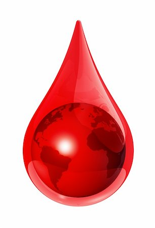 dripping blood illustration - Earth globe in a blood drop - 3D illustration Stock Photo - Budget Royalty-Free & Subscription, Code: 400-04692710