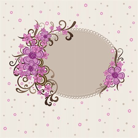 Decorative pink floral frame vector illustration Stock Photo - Budget Royalty-Free & Subscription, Code: 400-04692748
