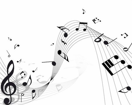Vector musical notes staff background for design use Stock Photo - Budget Royalty-Free & Subscription, Code: 400-04692879