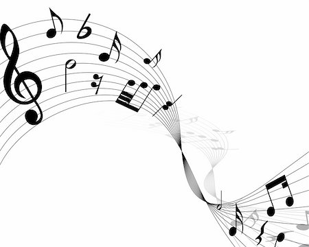 Vector musical notes staff background for design use Stock Photo - Budget Royalty-Free & Subscription, Code: 400-04692882