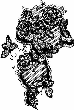butterfly and rose elegant lace print Stock Photo - Budget Royalty-Free & Subscription, Code: 400-04693202