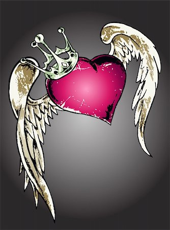 fly heart - heart gothic tattoo Stock Photo - Budget Royalty-Free & Subscription, Code: 400-04693214
