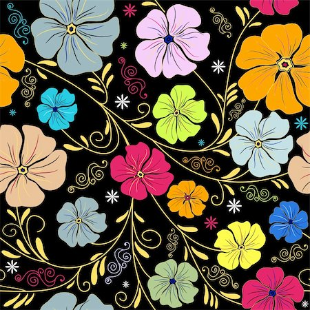 Seamless floral pattern with handwork colorful flowers (vector) Stock Photo - Budget Royalty-Free & Subscription, Code: 400-04704408