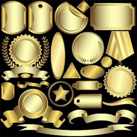 Set golden labels and ribbons on a black background (vector) Stock Photo - Budget Royalty-Free & Subscription, Code: 400-04705159
