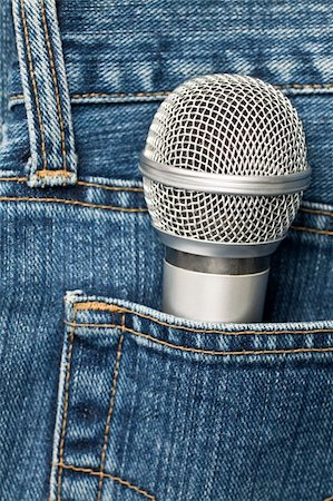 Blue jeans pocket with microphone Stock Photo - Budget Royalty-Free & Subscription, Code: 400-04705979