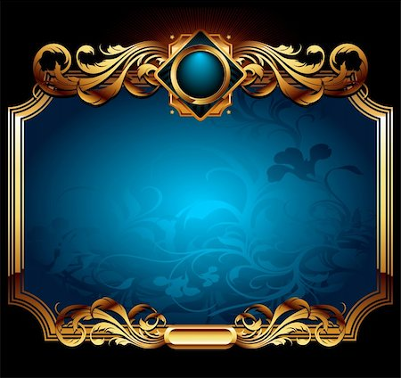blue ornate frame with floral background, this  illustration may be useful  as designer work Stock Photo - Budget Royalty-Free & Subscription, Code: 400-04707911