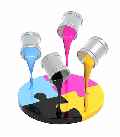 pouring paint art - Conceptual image - a palette CMYK. Objects over white Stock Photo - Budget Royalty-Free & Subscription, Code: 400-04709615