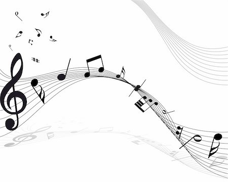 Vector musical notes staff background for design use Stock Photo - Budget Royalty-Free & Subscription, Code: 400-04709805