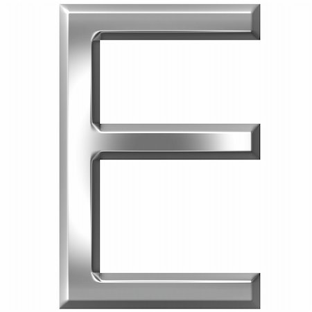 fancy letters - 3d silver letter E isolated in white Stock Photo - Budget Royalty-Free & Subscription, Code: 400-04700604
