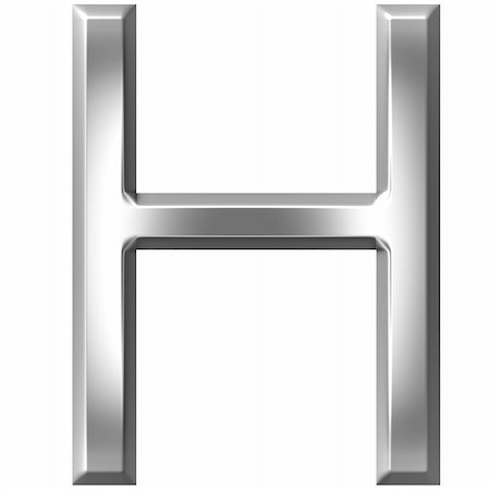fancy letters - 3d silver letter H isolated in white Stock Photo - Budget Royalty-Free & Subscription, Code: 400-04700607