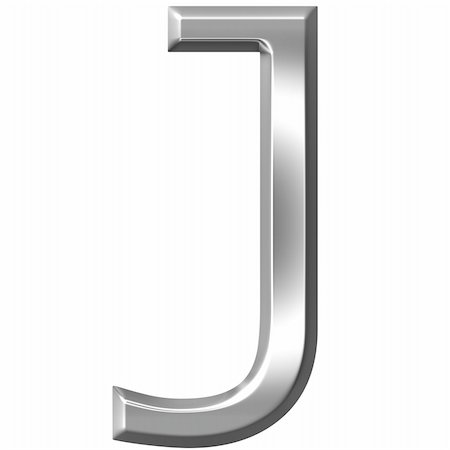 fancy letters - 3d silver letter J isolated in white Stock Photo - Budget Royalty-Free & Subscription, Code: 400-04700609