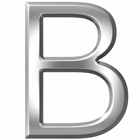 fancy letters - 3d silver letter B isolated in white Stock Photo - Budget Royalty-Free & Subscription, Code: 400-04700601
