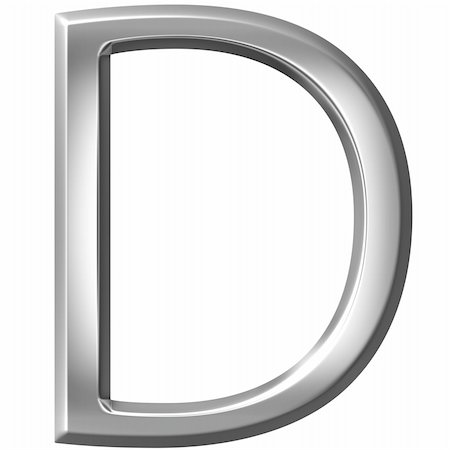 fancy letters - 3d silver letter D isolated in white Stock Photo - Budget Royalty-Free & Subscription, Code: 400-04700603