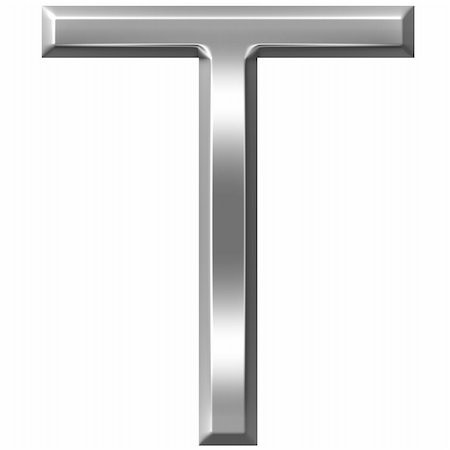 fancy letters - 3d silver letter T isolated in white Stock Photo - Budget Royalty-Free & Subscription, Code: 400-04700619