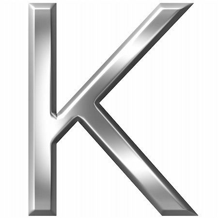 fancy letters - 3d silver letter K isolated in white Stock Photo - Budget Royalty-Free & Subscription, Code: 400-04700610
