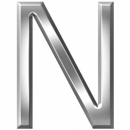 fancy letters - 3d silver letter N isolated in white Stock Photo - Budget Royalty-Free & Subscription, Code: 400-04700613